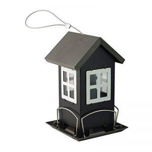 Bid Buy Direct® en métal à suspendre pour oiseaux Décor de jardin extérieur | sans déborder pas de déchets–4supports d'alimentation | NE Retient pas pluie | Windows au moniteur d'alimentation Niveau–Facile à remplir, facile à nettoyer. Feed & montre image 0 produit