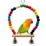 Bird Swing Jouets avec coloré en perles de bois cloches et en bois Hamac à suspendre Perchoir pour perruches inséparables Conures Petite perruche cages Accessoires de décoration de la marque XMSSIT image 1 produit
