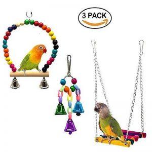 Bird Swing Jouets avec coloré en perles de bois cloches et en bois Hamac à suspendre Perchoir pour perruches inséparables Conures Petite perruche cages Accessoires de décoration de la marque XMSSIT image 0 produit