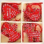 Boîte de 16 boules de Noël en bois pour sapin de Noël traditionnel rouge décorations à suspendre en forme de cœur et d'oiseaux en forme de renne de la marque Heaven Sends image 1 produit