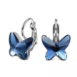 Boucles d'oreilles Papillons Pendentif Cristaux de Swarovski Elements Saphir Cadeau de la Saint-Valentin,pour Fête des Mères Femme Fille de la marque T400 Jewelers image 0 produit