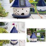 Cacoffay Pendaison Mangeoire Pour Les Oiseaux De Plein Air Lumière Solaire Creux Céramique Bleu Chalet Jardin Noël Décoration de la marque Cacoffay image 3 produit