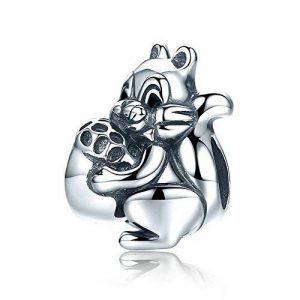 écureuil véritable argent sterling 925Naughty écureuil et noix de pin Animal Charm perle pour bracelet à breloques Bijoux Femme Cadeau Scc197 de la marque EyeCandy UK image 0 produit