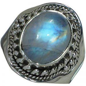 Czgem 31CT Pierre de Lune Bague en argent sterling 925Nature de bijoux pour femme Bague Taille 6,75 de la marque CZgem image 0 produit