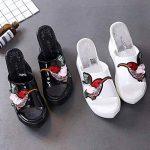 DANDANJIE Mesdames Printemps Chaussures PU Confort Oiseaux Modèle Pantoufles et Tongs Femmes Talon Compensé à Bout Ouvert Pour Casual (Noir Blanc) de la marque DANDANJIE image 3 produit