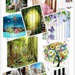 """Décor paysage Rideau de douche décor/Insectes - Abeille,arbre coloré,fleurs blanches,jaunes,rouges et violettes 71""""x 71"""" rideau décoratif de salle de bains de tissu de polyester résistant à l'eau de la marque LB image 1 produit"""