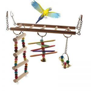 Emours Bois naturel Bird Échelle Animal de petite taille Swing Cage Jouets à suspendre avec Bell de la marque Emours image 0 produit