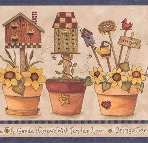 Fleurs jaunes en pots Nichoir Nid d'abeille Farmhouse Frise papier peint Motif rétro, rouleau de 15'x 17,8cm de la marque RetroArt image 0 produit