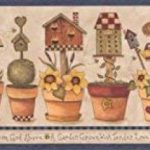 Fleurs jaunes en pots Nichoir Nid d'abeille Farmhouse Frise papier peint Motif rétro, rouleau de 15'x 17,8cm de la marque RetroArt image 1 produit
