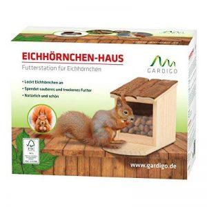 Gardigo Mangeoire pour écureuil, Toit ouvrant; maison, bar, distributeur de nourriture en bois pour plusieurs animaux; facile à remplir, nettoyer de la marque Gardigo image 0 produit