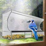 Grande mangeoire à oiseaux - Transparent, plateau amovible, trous de drainage et beau contenant, 3 ventouses robustes de la marque AnTom image 1 produit