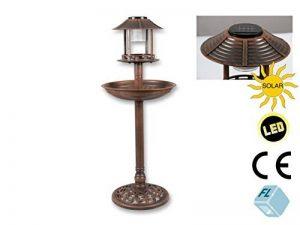 Hôtel Oiseaux avec LED Éclairage solaire Hauteur: 96cm, marron/cuivre, travaillé detailreich, en plastique, abreuvoir pour oiseaux Bain oiseaux mangeoire oiseaux de la marque Unbekannt image 0 produit