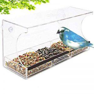 Hrph Grand Mangeoire pour Oiseaux Acrylique Crystal Transparent Mangeoire à Oiseaux pour Fenêtre avec 2 Ventouses de la marque Hrph image 0 produit