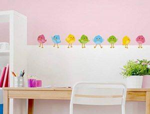 """I-love-Wandtattoo WAS-12676 Ensemble de tatouage mural pour chambre d'enfant """"Petits oiseaux en 4 couleurs différentes"""" stickers muraux oiseau brindille chambre des garçons animaux aériens chambre de fille figures déco chambre de bébé animaux de jardin de image 0 produit"""