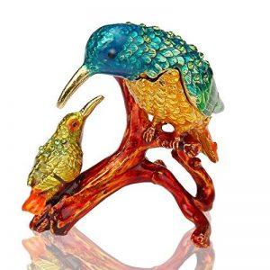 Inconnu H & D Kingfishers Oiseaux Boîte à bijoux en métal émaillé figurine de mariage Bijoux Bague support organiseur de la marque Inconnu image 0 produit
