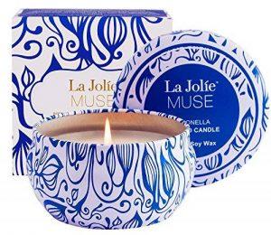 La Jolie Muse Bougie Anti Moustique Citronnelle, Anti Insectes Mouche 100% cire de soja, À l'intérieur et à l'exterieur, 45 heures de la marque La Jolie Muse image 0 produit