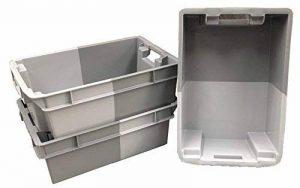 Lot de 10x 32litre Gris profond pile/Nest 180º Boîte de rangement en plastique Container Caisse Tote–600x 400Euro empilable/superposable Force industrielle de la marque Solent Plastics image 0 produit