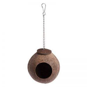 Lunji Naturel Coconut Shell Nid D'oiseau Maison Hut Cage Feeder Jouet Pour Pet Perroquet Perruche Perruche Cockatiel Conure de la marque Lunji image 0 produit