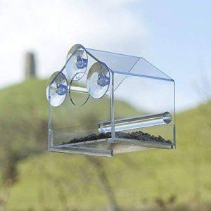 Mangeoire de fenêtre pour oiseaux, dans un cadre brillant, avec plateau d'alimentation coulissant, en plexiglas transparent; résistant aux intempéries, aux écureuils, et à l'eau de pluie pour garder les graines d'oiseau au sec. de la marque Chrysalis Pro image 0 produit