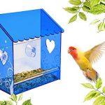 Mangeoire de fenêtre nature, anti écureuil, petite mangeoire en plexiglas avec une vue très claire, un toit bleu et une vision à travers les murs transparent de la mangeoire. Trous de d'évacuations des eaux et ventouses très fortes. Pour toutes les condit image 2 produit