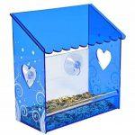 Mangeoire de fenêtre nature, anti écureuil, petite mangeoire en plexiglas avec une vue très claire, un toit bleu et une vision à travers les murs transparent de la mangeoire. Trous de d'évacuations des eaux et ventouses très fortes. Pour toutes les condit image 4 produit