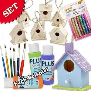 Mangeoire Kit de bricolage pour les enfants avec 6maisons d'oiseaux en bois, malfarbe, pinceaux et colle à paillettes, à personnaliser pour garçons et filles, aussi pour enfants de anniversaire un emploi de lumière colorée de la marque geburtstagsfee image 0 produit