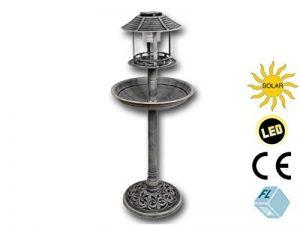 Mangeoire à oiseaux avec éclaire solaire LED Hauteur: 96cm, gris pierre, fabrication respectueuse des détails, en plastique, abreuvoir baignoire mangeoire pour oiseaux, gris de la marque Unbekannt image 0 produit