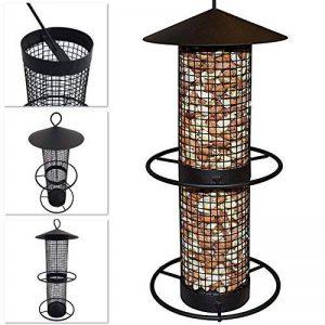 Mangeoire pour oiseaux 31 cm à suspendre - Grille en métal noir - Spendeur de nourriture idéal pour noix et tournesol de la marque PROHEIM image 0 produit