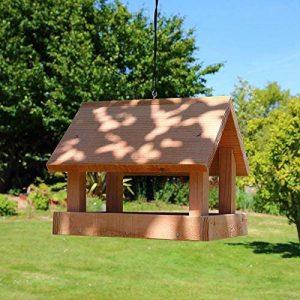 Mangeoire pour oiseaux grand buffet en bois massif, fabrication artisanale de la marque Nichoirs-Mangeoires image 0 produit