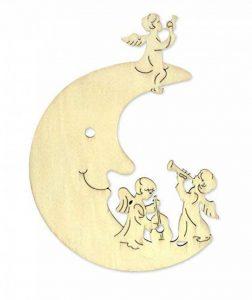 Module décoratif et pendentif en forme de lune-ange musizierende sculpture en bois naturel longueur : 19,5 holzdeko cm-suspension pour fenêtre à la main de la marque Unbekannt image 0 produit