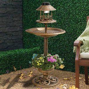 My Garden Path Abreuvoir et mangeoire pour oiseau effet bronze avec lampe solaire de la marque Parkland image 0 produit