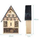 Navaris Hôtel à insecte bois - Cabane abri XL 23 x 40 x 7 cm - Maisonnette refuge toit métal abeille coccinelle papillon et autres insectes volants de la marque Navaris image 2 produit