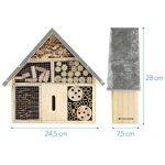 Navaris Hôtel Insecte en Bois - Cabane abri Taille M 24,5 x 28 x 7,5 cm - Maisonnette Refuge Abeille Coccinelle Papillon et Autres Insectes Volants de la marque Navaris image 2 produit