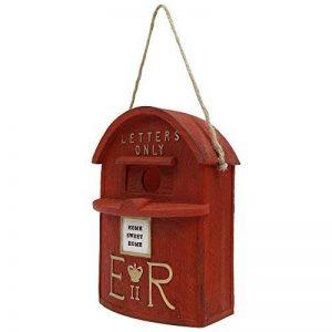 Nichoir à Oiseaux à Suspendre Modèle Boîte aux Lettres de Style Britannique 'Home Sweet Home' en Polyrésine Rouge de la marque Gardens2you image 0 produit