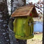 Nichoir à oiseaux,Maison à oiseaux PRODUIT FRANCAIS, 30 cm haut,jaune brossé, toits flambés, Villa à oiseaux pour jardin colorés, fait avec du bois massif Douglas et pin, tout est vissé, lasuré 3-fois avec lasure acrylique. Nous sommes membre de la chambr image 1 produit