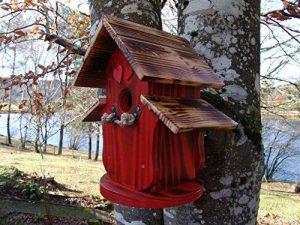 Nichoir à oiseaux,Maison à oiseaux PRODUIT FRANCAIS, 30 cm haut, rouge vif brossé, toits flambés, Villa à oiseaux pour jardin colorés, fait avec du bois massif Douglas et pin, tout est vissé, lasuré 3-fois avec lasure acrylique. Nous sommes membre de la c image 0 produit