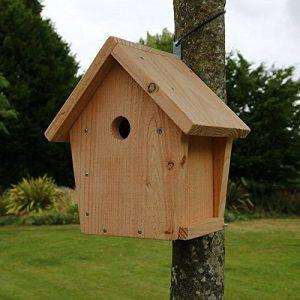 Nichoir maisonnette pour oiseaux mésanges bleues Ø28mm en bois, fabrication artisanale de la marque Nichoirs-Mangeoires image 0 produit