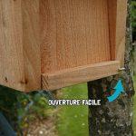Nichoir maisonnette pour oiseaux mésanges bleues Ø28mm en bois, fabrication artisanale de la marque Nichoirs-Mangeoires image 3 produit