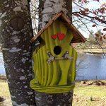 Nichoir à oiseaux,Maison à oiseaux PRODUIT FRANCAIS, 30 cm haut,jaune brossé, toits flambés, Villa à oiseaux pour jardin colorés, fait avec du bois massif Douglas et pin, tout est vissé, lasuré 3-fois avec lasure acrylique. Nous sommes membre de la chambr image 2 produit