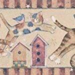 Norwall Chats animés, sautant par-dessus les nichoirs papier peint Beige bordure Design rétro, rouleau 15' x 7'' de la marque Norwall image 1 produit