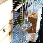 PAS DE saleté Bird Distributeur de graines pour cage Accessoires, maison Oiseaux automatique des systèmes de recherche de nourriture Nourriture station d'alimentation pour les perroquets, avec perchoir, Heavy Duty Acrylique, Moulage en une étape de la mar image 4 produit