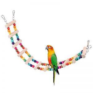 Petacc Échelle jouet pour oiseaux Perroquet avec perles en bois multicolores et crochets pour Parrot d'entraînement de la marque Petacc image 0 produit
