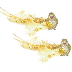 Premier Décoration de Noël 16cm Lot de 2oiseaux sur pince avec perles–Doré de la marque Premier image 0 produit