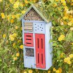 Relaxdays Hôtel à insectes avec toit en métal balcon terrasse jardin abeille coccinelle papillon HxlxP: 48,5 x 24 x 14 cm refuge abri, bleu de la marque Relaxdays image 1 produit