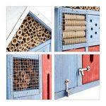 Relaxdays Hôtel à insectes avec toit en métal balcon terrasse jardin abeille coccinelle papillon HxlxP: 48,5 x 24 x 14 cm refuge abri, bleu de la marque Relaxdays image 3 produit