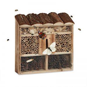Relaxdays Hôtel à insectes en bois à suspendre abri abeille refuge papillon grillage HxlxP: 31 x 30,5 x 9,5 cm, nature de la marque Relaxdays image 0 produit