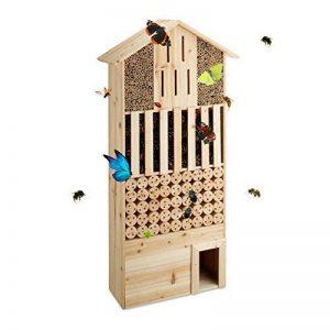 Relaxdays Hôtel à insectes en bois XXL abri abeilles papillon jardin balcon hérisson HxlxP: 118 x 57 x 24 cm, nature de la marque Relaxdays image 0 produit