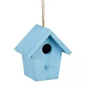 Relaxdays Maison à oiseaux nichoir perchoir en bois coloré à suspendre HxlxP: 16 x 15 x 11 cm, bleu de la marque Relaxdays image 0 produit