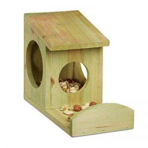 Relaxdays Mangeoire pour écureuil distributeur de nourriture animaux en bois à suspendre HxlxP: 17,5 x 12 x 25 cm, vert de la marque Relaxdays image 0 produit