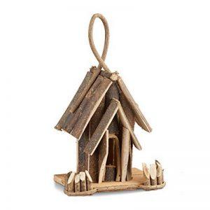 Relaxdays Nichoir à oiseaux décoration maison à oiseaux en bois à suspendre villa fait main balcon, nature de la marque Relaxdays image 0 produit
